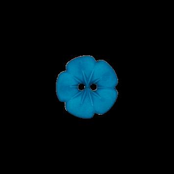Kinderknopf `Blume`, 15mm, türkis